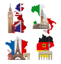 Europe landmarks and maps vector