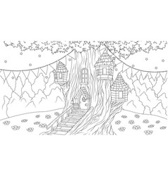 fantasy house in an old tree vector image