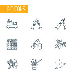 festival icons line style set with cider dove vector image