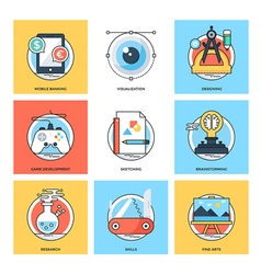 Flat color line design concepts icons 22 vector