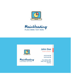 Flat pie chart on laptop logo and visiting card vector