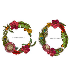 Floral wreath colored banana palm leaves vector