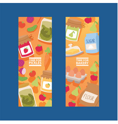 Food meal vegetables fruits from supermarket or vector