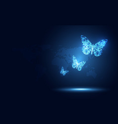 futuristic blue lowpoly butterfly abstract vector image
