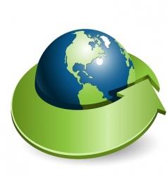 globe and arrow vector image