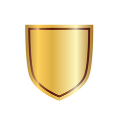 Gold shield shape icon 3d golden emblem sign vector