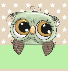greeting card cute cartoon owl is holding a vector image