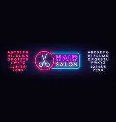 hair salon neon sign hairdress design vector image