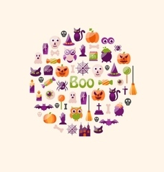 Halloween Colorful Flat Icons Party Background vector image