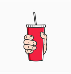 hand hold paper cup male hand holding a red paper vector image