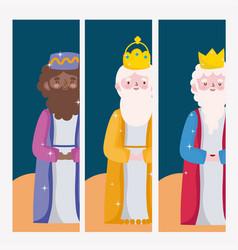 Happy epiphany three wise kings cartoon vector