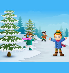 Happy kids playing in winter landscape vector