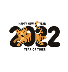 Happy new year 2022 year of the tiger vector
