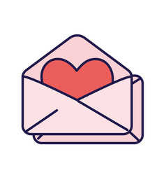 happy valentines day open envelope heart love vector image