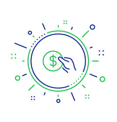 Hold coin line icon dollar currency vector
