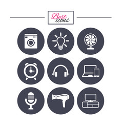 home appliances device icons ventilator sign vector image