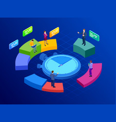 isometric effective time management concept time vector image