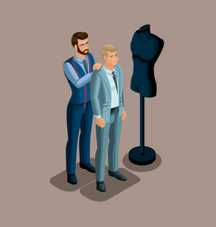 isometric tailor work with a client in a sewing w vector image