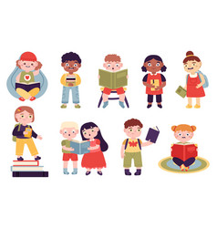 kids reading books reading children boys and vector image