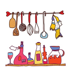 Kitchen and wine accesorries funny design vector image