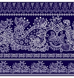 Lace bohemian seamless border with floral vector