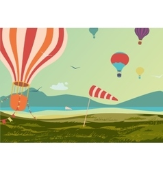 Landscape with hot air balloons vector image