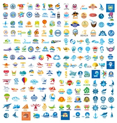Large set of logos trip vector