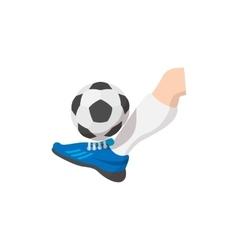 Leg kicks ball cartoon icon vector