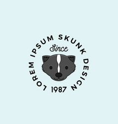 line style skunk face with retro typography vector image