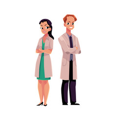 male and female doctors in medical coat with arms vector image