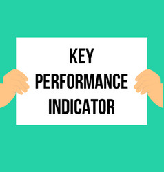 Man showing paper key performance indicator vector