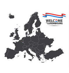 Map of europe with the state of luxembourg vector