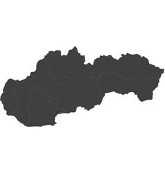 Map of slovakia split into regions vector