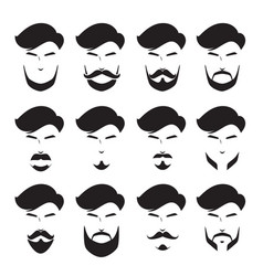 Men beard set different style monochrome vector