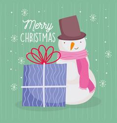 merry christmas celebration snowman gift box vector image