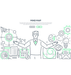 Mind map - modern line design style web banner vector