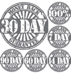 Money back guarantee grunge stamps set vector