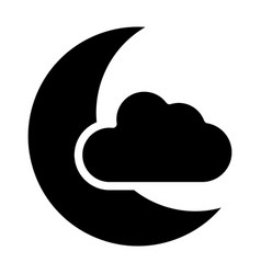 Moon and cloud solid icon sleep vector