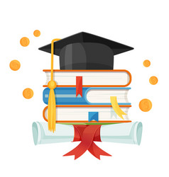 Mortarboard cap on piles of textbooks and diploma vector