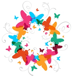 Multicolored Spring Butterfly design background vector image