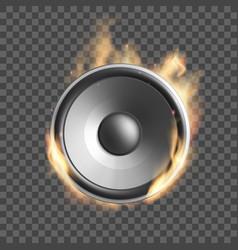 Music speaker on fire vector