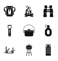 Nature tourism icons set simple style vector image