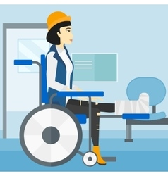 Patient sitting in wheelchair vector