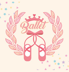 pink ballet pointe shoes emblem vector image