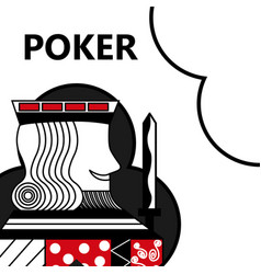 poker card gambling king with sword in sign clubs vector image