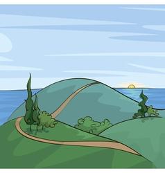 Poplar trees on the hill vector