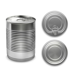 Realistic preserve cans collection vector