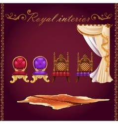 Rich interior bear pelt chairs and curtain vector