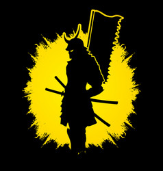 samurai warrior standing with flag katana sword vector image