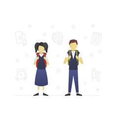 schoolchildren flat character design vector image